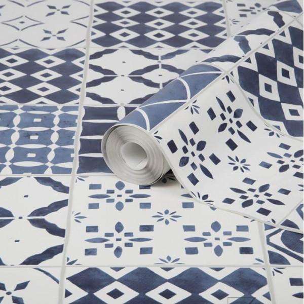 Tapeta niebieska mozaika do łazienki