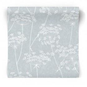 Miętowa tapeta w białe kwiaty 33-302
