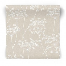 Beżowo biała tapeta w rośliny 33-301