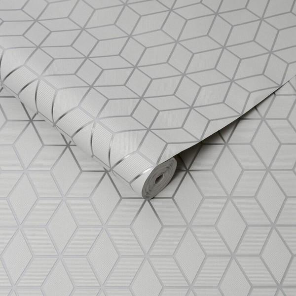 Tapeta w srebrne wzory geometryczne tłoczona