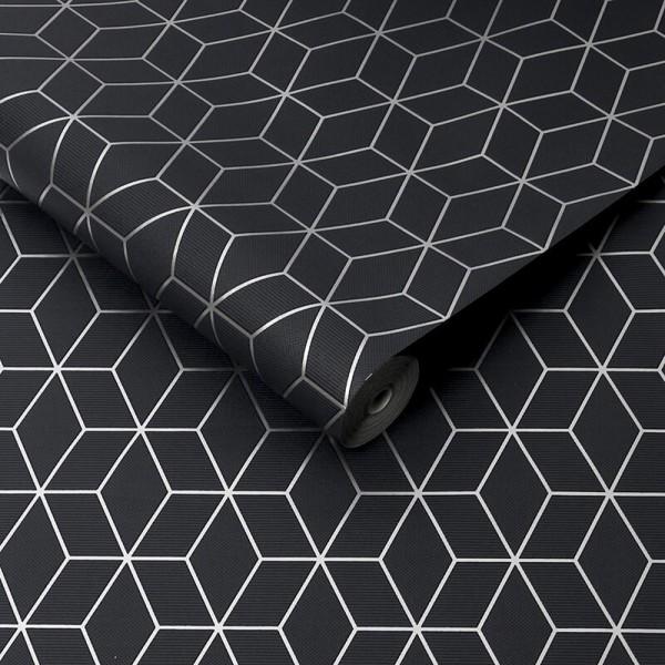 Szara tapeta geometryczna we wzory 3D tłoczona