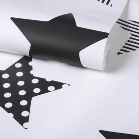 Czarno biała tapeta w gwiazdki
