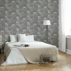 Tapeta do sypialni egzotyczne liście palmy