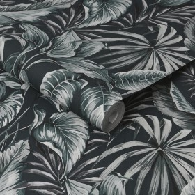 Tapeta 107010 tropikalna liście na ciemnym tle