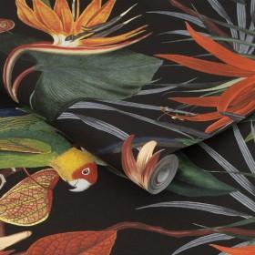 Tapeta styl tropikalny na czarnym tle 108602