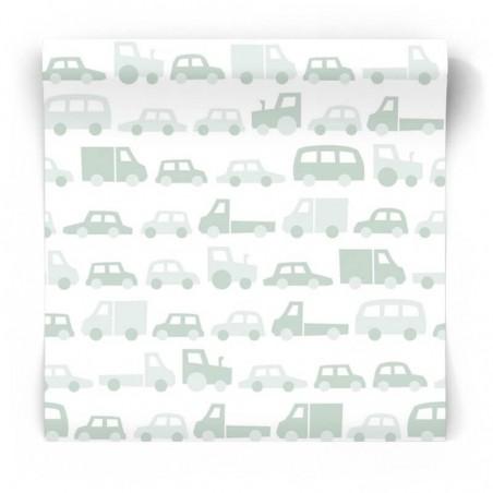 Dziecięca tapeta w miętowe samochodziki 139043