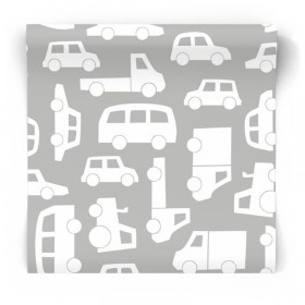 Szara tapeta w samochody dla chłopca 139047