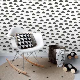Skandynawska tapeta czarno biała dziecięca chmurki grzybki