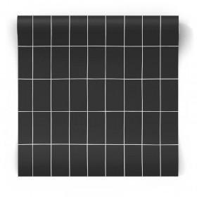 Czarna tapeta geometryczna 139032