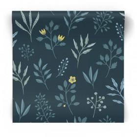 Granatowa tapeta w rośliny 139082