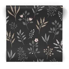 Czarna tapeta motywy roślinne 139083