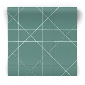 Turkusowa tapeta geometryczna 139092