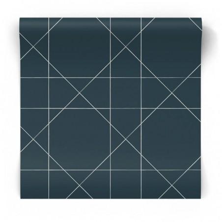 Granatowa tapeta wzory geometryczne 139093