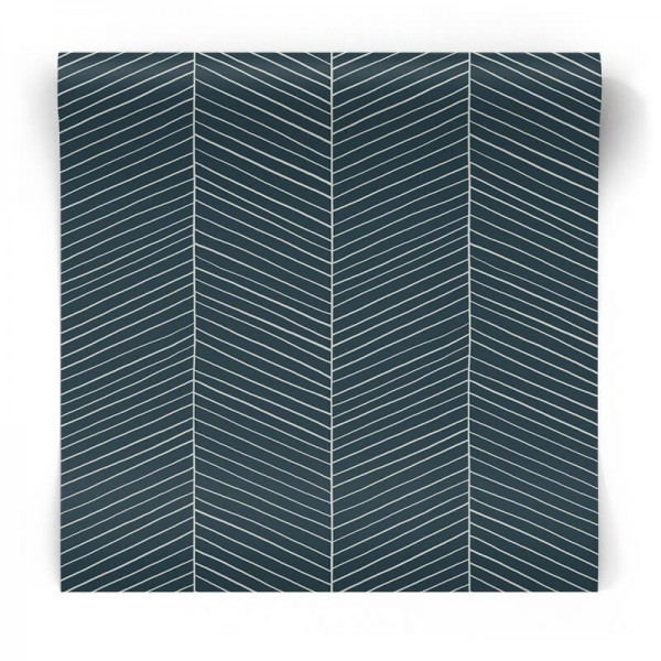 Granatowa tapeta jodełka 139109