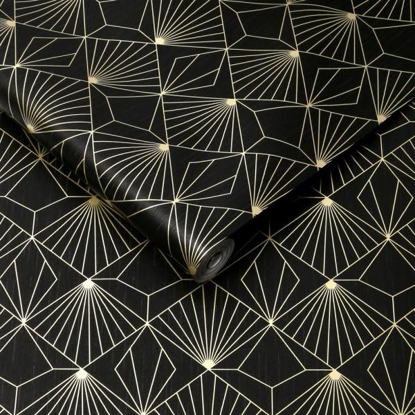 Tapeta złoto czarna diamenty art deco 105978
