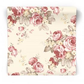 Beżowa tapeta w kwiaty