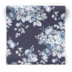 Granatowa tapeta w kwiaty