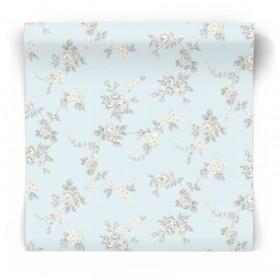 Błękitna tapeta w kwiaty vintage