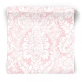 Różowa tapeta w przecierany ornament