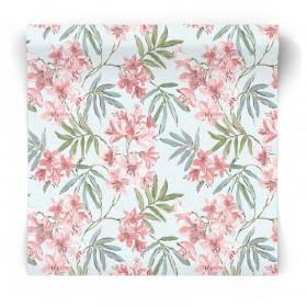 Błękitna tapeta w kwiaty i liście