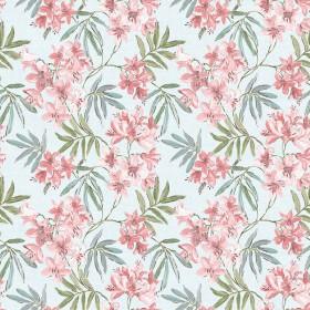 Błękitna tapeta w różowe kwiaty