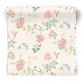 Beżowa tapeta w kwiaty vintage