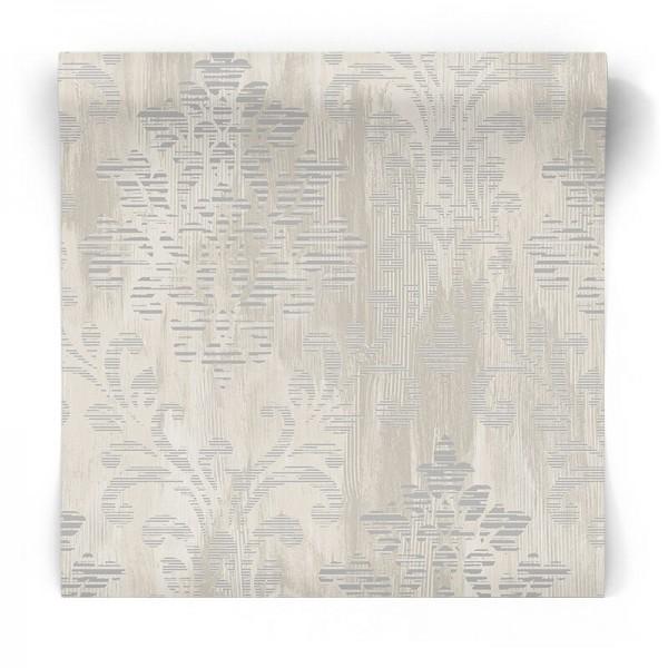 Tapeta w błyszczący srebrny ornament W78180