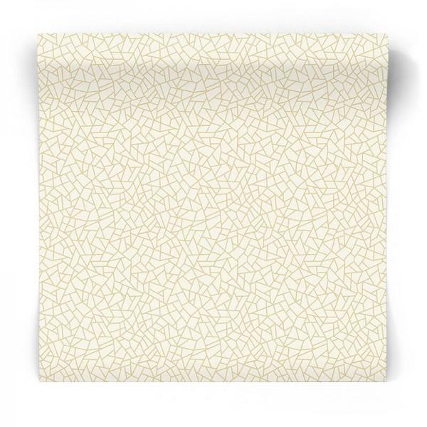 Biało złota tapeta geometryczna W78194