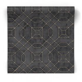Tapeta geometryczna czarna w złote wzory W78218
