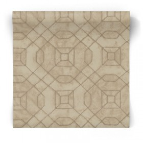 Brązowo złota tapeta geometryczna W78220