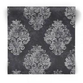 Czarno srebrna tapeta glamour W78227