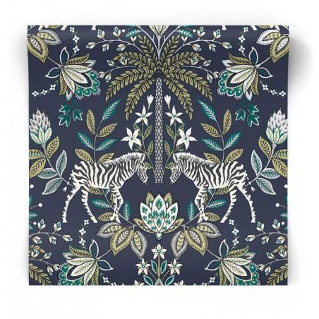 Granatowa tapeta egzotyczna 91091