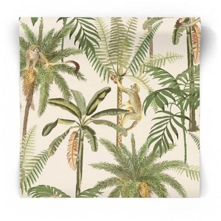 Kremowa tapeta w małpy i palmy 91101