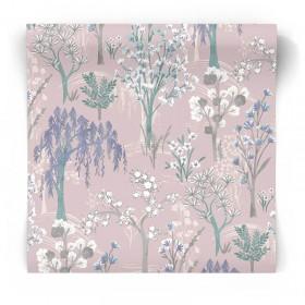 Różowa tapeta w rośliny 91130