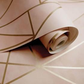 różowa geometria w złote linie