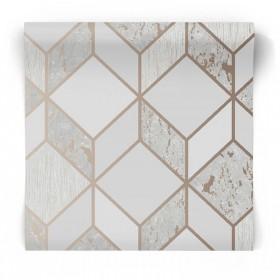 Tapeta w romby 3D miedziano szara