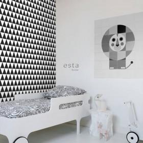 tapeta na ścianę czarno biała geometryczna