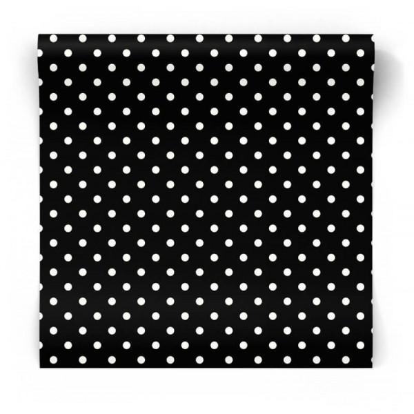Tapeta dekoracyjna czarna w białe kropki