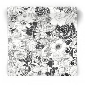 Tapeta w czarno-białe kwiaty