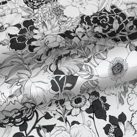 Czarno biała tapeta w kwiaty 138503