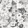 Biało czarna tapeta w kwiaty