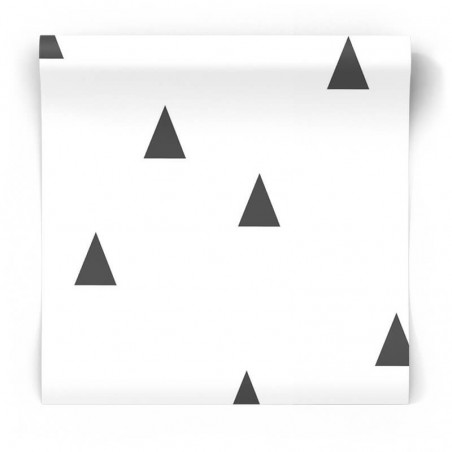 Skandynawska tapeta geometryczna czarno biała w trójkąty