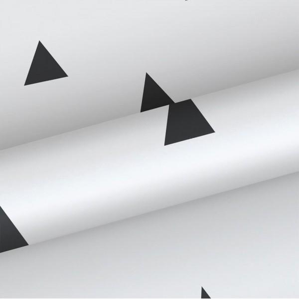 Biała tapeta w czarne trójkąty 138942