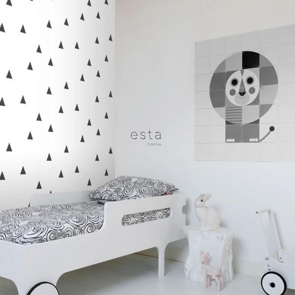 Biała tapeta dekoracyjna w czarne trójkąty