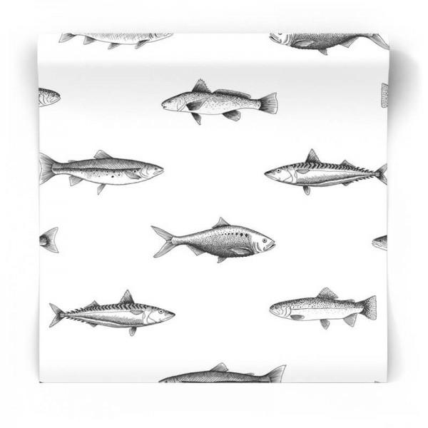 tapeta biało czarna w ryby