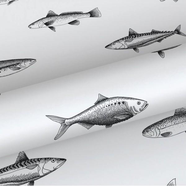 Tapeta czarnobiała w ryby 138967