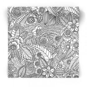 czarno białe kwiaty tropikalnle tapeta