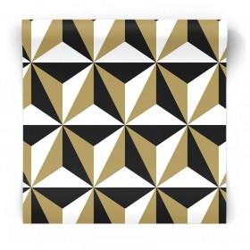 geometryczna czarno-złoty-biały tapeta 3D
