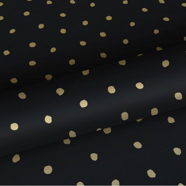 Czarna tapeta w złote ciapki 139122