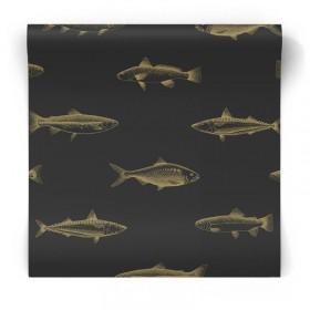 czarna w złote rybki